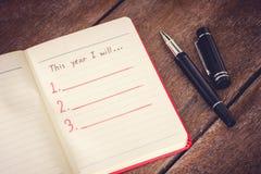 Resolución del Año Nuevo, lista vacía Fotografía de archivo