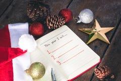 Resolución del Año Nuevo, lista vacía Foto de archivo libre de regalías