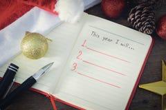 Resolución del Año Nuevo, lista vacía Imagen de archivo libre de regalías
