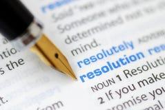 Resolución - serie del diccionario Fotografía de archivo