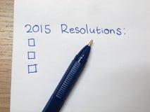 2015 resoluciones Fotos de archivo libres de regalías