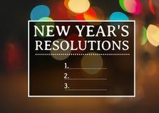 Resoluciones del Año Nuevo contra efectos luminosos del bokeh Fotografía de archivo libre de regalías