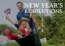 Resoluciones del Año Nuevo contra los pares que gozan con la carretilla de rueda Foto de archivo