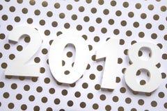 Resoluciones del Año Nuevo 2018 en fondo de la flor con café y el lápiz Fotografía de archivo libre de regalías