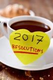 Resoluciones del café y del texto 2017 Foto de archivo libre de regalías