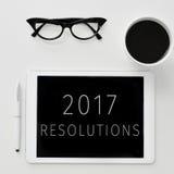 Resoluciones del texto 2017 en una tableta Imágenes de archivo libres de regalías