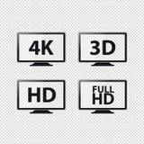 Resoluciones 4K, 3D, HD y FullHD - iconos de la TV del vector - aislados en fondo transparente libre illustration