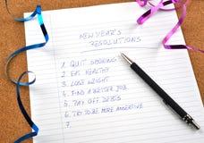 Resoluciones y cintas del Año Nuevo Imagen de archivo libre de regalías