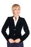 Resolute blond woman in suit. Royalty Free Stock Photo