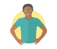 Resolute handsome black man in glasses. Flat design icon. Decisive boy with arms akimbo. Simply editable isolated vector illustrat. Ion Royalty Free Stock Images