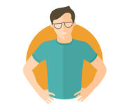 Resolute handsome man in glasses. Lets do it concept. Flat design icon. Decisive boy with arms akimbo. Simply editable isolated ve Stock Photo