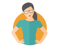 Resolute pretty girl in glasses. Lets do it concept. Flat design icon. Decisive woman with arms akimbo. Simply editable isolated v. Ector illustration Stock Image