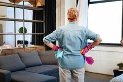 Resolute woman with tied hair observing her apartment and planning. Carrying cleaning spray. Resolute woman with tied hair observing her apartment and planning royalty free stock image