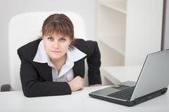 Resolutely woman - managing director and laptop Royalty Free Stock Image