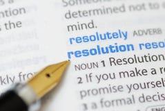 Resolutie - de Reeks van het Woordenboek royalty-vrije stock fotografie