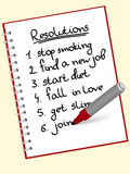 Resolution. A list of resolutions for starting new life Royalty Free Stock Image