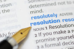 Resolution - Dictionary Series. Fountain pen pointing resolution word royalty free stock photography