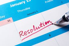 Resolution word on calendar Royalty Free Stock Photos