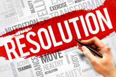 Resolution. Word cloud, fitness, sport, health concept royalty free stock photos