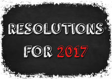 Resolutions for 2017. Chalkboard illustration Royalty Free Stock Image