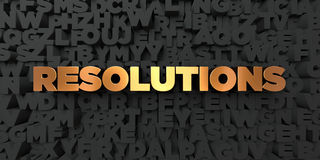 Resolutions - Gold text on black background - 3D rendered royalty free stock picture. This image can be used for an online website banner ad or a print Royalty Free Stock Photo