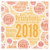Resolutions 2018 health word cloud. Illustration Royalty Free Stock Image