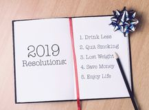 2019 resolutions list with gold decoration stock photos