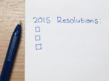 2015 resolutions. 2015 new year resolutions checklist Royalty Free Stock Photo