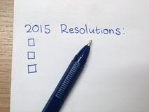 2015 resolutions. 2015 new year resolutions checklist Royalty Free Stock Photos