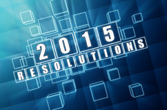 2015 resolutions. New year 2015 resolutions - text in 3d blue glass boxes with white figures, business holiday concept vector illustration