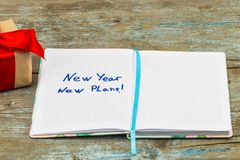 2018 Resolutions text on notebook paper with gift box for busine. Ss concept Royalty Free Stock Images