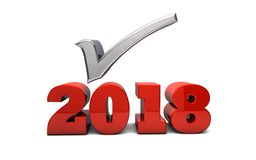2018 Resolutions. The word 2018 rendered in 3D with a silver checkmark Stock Image