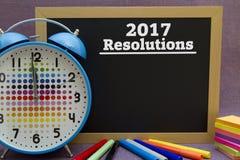 2017 Resolutions. Written on a small blackboard Stock Photo