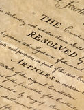 The Resolved Articles. United States Declaration of Independence Royalty Free Stock Photos