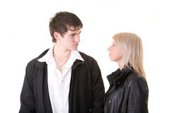 Resolving the problems. Beautiful couple resolving the problems Stock Photography