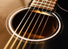 Resonator hole of black glossy acoustic guitar royalty free stock photography