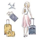 Resor bagage Flicka som går med en bagagepåse Arkivfoton
