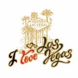 Resor Jag älskar Las Vegas bokstäver Resa till Amerika vektor royaltyfri illustrationer