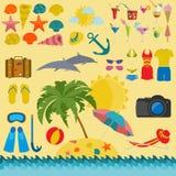 Resor semestrar Symboler för uppsättning för strandsemesterort Arkivbild