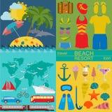 Resor semestrar Symboler för uppsättning för strandsemesterort Royaltyfri Foto
