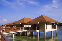 Resort. Cottages on stilts in Palawan, Philippines Stock Photo