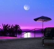 Resort. Moon night on beach of Greece, luxurious resort Stock Photos