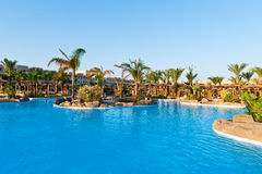 Resort. Big pool with palms on small islands Stock Image