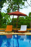 Resort. Desk chair in tropical spa resort Royalty Free Stock Photography