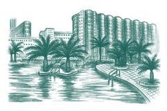 Resort. Handdrawn illustration of tropic resort with palms Stock Image