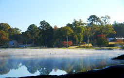 Resort. A beautiful fall lanscape on a cold morning Royalty Free Stock Images