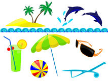 Resort. And  beach accessories in a vector Royalty Free Stock Images