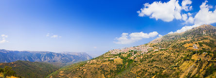 Resort of Arachova on mountain Parnassos, Greece. Travel background Royalty Free Stock Images