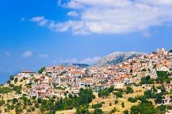 Resort of Arachova on mountain Parnassos, Greece. Travel background Stock Image