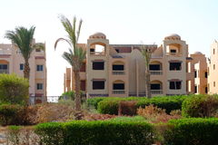 Resort architecture in Egypt. Hotel and palm trees Stock Photo